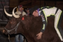 Three-race winner Brian Shirley hugs an ox in victory lane at FK Rod Ends Arizona Speedway during the Keyser Manufacturing Wild West Shootout. (K.C. Rooney)