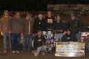 Dave Hess Jr. and his supports enjoy victory lane May 24 at NAPA Wayne County Speedway after his first-ever World of Outlaws victory. (rdwphotos.smugmug.com)