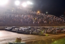 The starting field for Saturday night's 50-lap Chevrolet Performance Super Late Model Series feature at 411 Motor Speedway in Seymour, Tenn., forms into a four-wide pace in front of a big crowd. (Thomas Hendrickson/DT52 Photos)