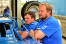 Brandon Sheppard (left) and his father, Steve Sheppard Jr., contemplate Friday night's Show-Me 100 qualifying program at Lucas Oil Speedway. (rickschwalliephotos.com)