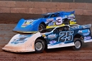 Jared Seifert (25) outran Brett Swedberg (3) on July 4 at Shawano (Wis.) Speedway for his first Dirt Late Model victory. (Shawn Fredenberg)
