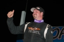 Jonathan Davenport gives the fans a thumbs-up sign after winning Saturday night's 28th annual USA Nationals at Cedar Lake Speedway. (Bruce Nuttleman)