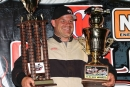 Furman Parton had his hands full in victory lane after his $2,000 SECA Crate Late Model victory at The Dirt Track at Charlotte in Concord, N.C. (ZSK Photography)