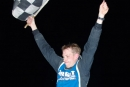 Brandon Mowat celebrates his first Go Nuclear Series victory July 24 at Humberstone (Ontario) Speedway. (Ken Kelly)