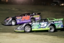 Brandon Sheppard (B5) overtakes Doug Drown (240) en route to winning July 28's STARS Buckeye Late Model Dirt Week victory at Hilltop Speedway in Millersburg, Ohio. (Zach Yost)