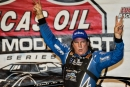Scott Bloomquist celebrates his sixth Jackson 100 victory. (heathlawsonphotos.com)