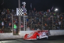Bobby Pierce takes the checkered flag on Sept. 24 at Tri-City Speedway in Granite City, Ill., to complete a sweep of the Late Model Mania tripleheader. (stlracingphotos.com)