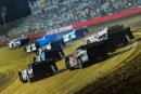 Cars power off the corner during the first heat race of the Tribute to Don and Billie Gibson on May 26 at Lucas Oil Speedway in Wheatland, Mo. (heathlawsonphotos.com)