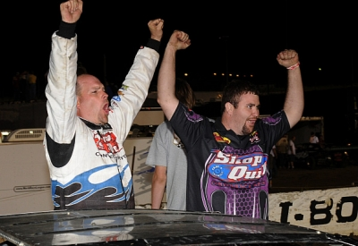 John Anderson and crew chief Bryan Larimore celebrate. (Lloyd Collins)