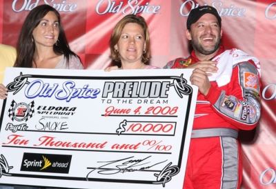Eldora owner Tony Stewart enjoys his '08 victory. (Jeremey Rhoades)