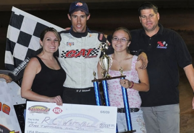 R.C. Whitwell celebrates his first Late Model victory. (dennisbrownfield.com)