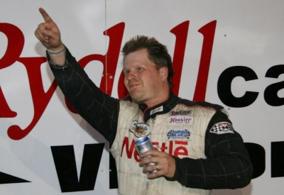 Victorious Brad Seng celebrates at his hometown track. (ornesscreations.com)