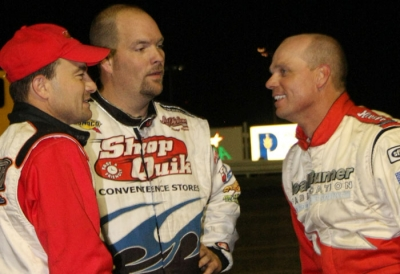 Winner Kelly Boen (right) chats after his feature win. (Justin Sly)