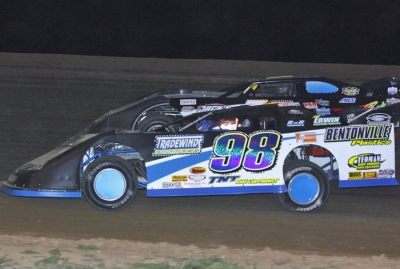Justin Wells (98) heads for victory at Monett. (Ron Mitchell)