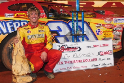 Tim McCreadie poses with the unique trophy. (whyteracingphotos.com)