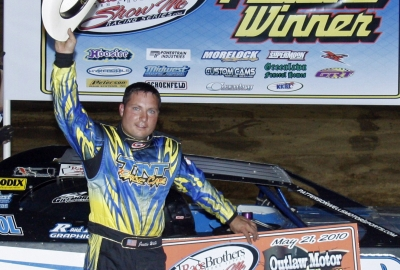 Justin Wells in victory lane at Outlaw. (Ron Mitchell)
