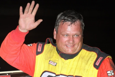 Don O'Neal waves in victory lane. (Jeremey Rhoades)