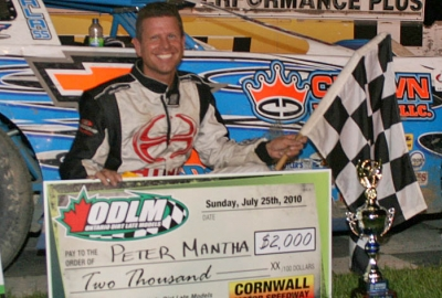 Peter Mantha Jr. in Cornwall's victory lane. (imagefactor.ca)