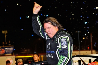 Scott Bloomquist celebrates Saturday's victory in the Volusia finale. (thesportswire.net)