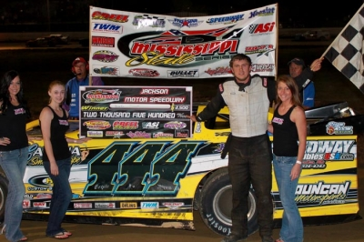 Brooks Strength hits victory lane on the MSCCS for the first time. (Stacey Dearman)