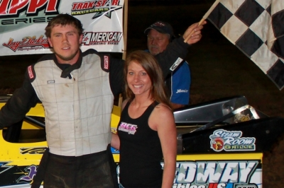 Rookie Brooks Strength celebrates his first MSCCS victory Saturday at Jackson Motor Speedway. (RCG Photography)