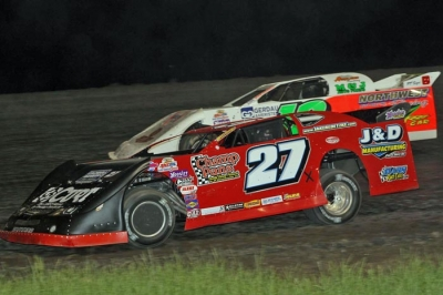 Jake Redetzke (27) heads toward victory at Red River Valley Speedway. (crpphotos.com)
