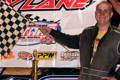 Ross White enjoys victory lane at Wartburg Speedway after his first Super Late Model triumph. (photobyconnie.com)