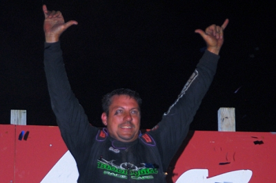 Chris Madden celebrates his $20,000 Tazewell victory. (mrmracing.net)