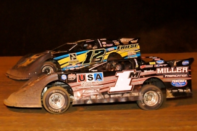 Jeremy Miller (1m) and Devin Friese (12) battle for the lead. (Joe Nowak)