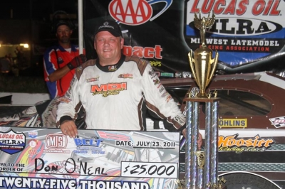 Don O'Neal enjoys victory lane at I-80 Speedway. (crpphotos.com)