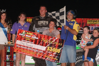 Chad Simpson enjoys victory lane at C.J. Speedway for the second straight year. (K.C. Rooney)