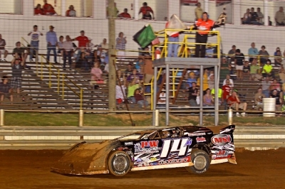 Morgan Bagley takes the checkers in leading his only lap. (Woody Hampton)