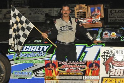Robbie Blair visits victory lane again at McKean County. (Joe Nowak)