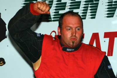 Jason Hiett celebrates in victory lane at Green Valley. (focusedonracing.com)