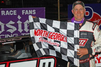 Dale McDowell visits victory lane in the wee hours. (photobyconnie.com)