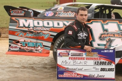 Max Blair enjoys victory lane for his first Fastrak Northeast victory in nine months. (Tommy Michaels)