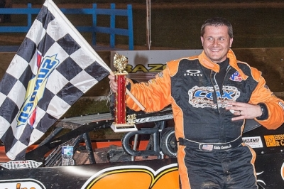 Eddie Carrier Jr. enjoys victory lane at Florence. (Jeff Eissing)