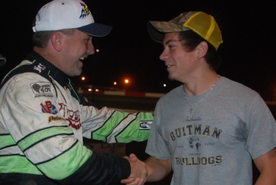 Jimmy Owens (left) won a new car for himself, and one for fan Matthew McRae. (DirtonDirt.com)