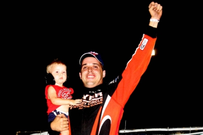 Jesse Stovall enjoys victory lane at Springfield. (Ron Mitchell)