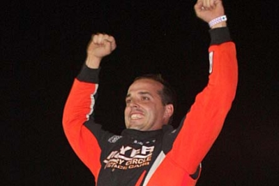 Jesse Stovall celebrates his victory at 81 Speedway. (Mary Gregory)