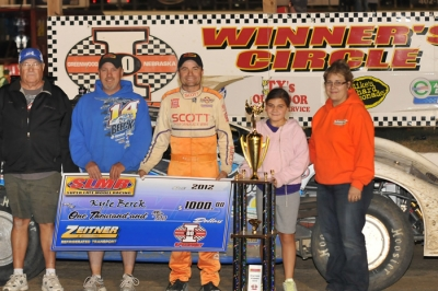 Kyle Berck's team enjoys victory lane at I-80. (racedayprints.com)
