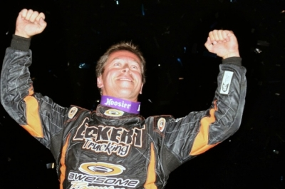 Rick Eckert celebrates his victory at Winston Speedway. (Steve Datema)
