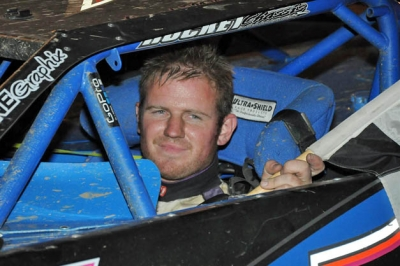 Jared Miley enjoys victory lane at Pittsburgh's Pennsylvania Motor Speedway. (Jason Shank)