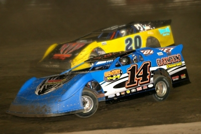 J.R. Gentry (14) narrowly grabbed the 2012 track title at Hilltop Speedway. (Diane Bemiller)