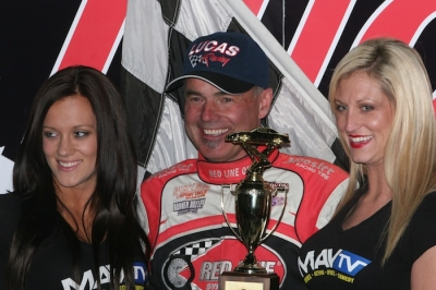 Billy Moyer enjoys victory lane at Knoxville. (Barry Johnson)