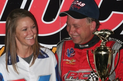 Amanda Francis joins her victorious husband in victory lane. (Barry Johnson)