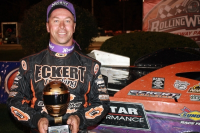 Rick Eckert shows off his hardware at Rolling Wheels. (Kevin Kovac)