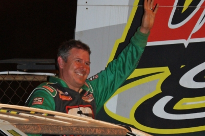 Jeff Smith waves to the Lancaster crowd in victory lane. (Gene Murphy)