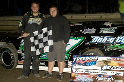 Zack Dohm and his brother Nick in victory lane in Orrville, Ohio. (Karl Kammerer)