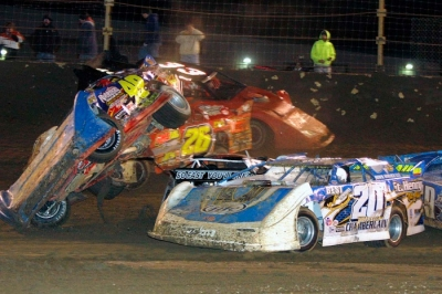 A first-lap scramble sent Brian Ruhlman (49) on a wild ride. (Jim DenHamer)